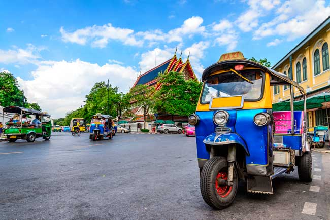 The tuk-tuk is the traditional and most typical way of transport in Bangkok.