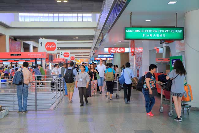Don Mueang Airport has two passenger terminals; Termial 1 and Terminal 2, connected by a short walkway.
